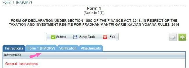 how to convert black money to white under PMGKY online form tabs pic