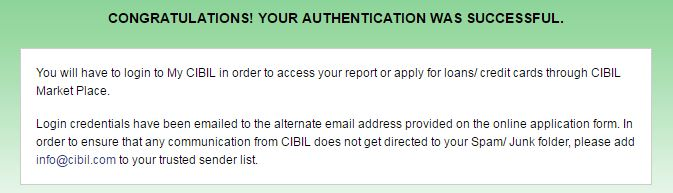 myCIBIL Free credit report login