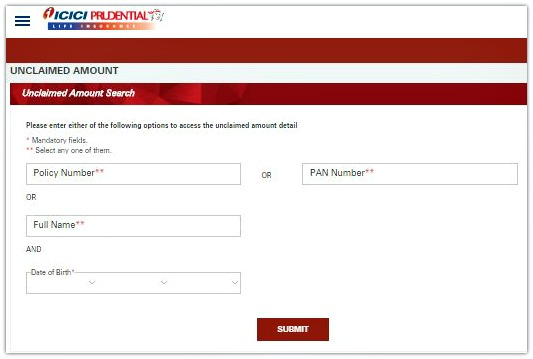 Unclaimed ICICI Prudential policy amount death claim maturity claim unclaimed money back amount pic