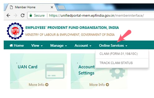 EPF balance withdrawal online PF advance loan EPS online withdrawal procedure link url pic