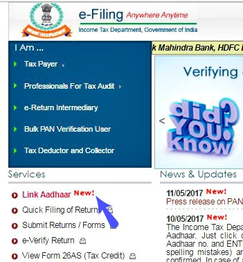 How to link Aadhaar number with PAN card income tax return filing ITR efiling portal pic