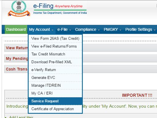 How to register as legal heir in efiling income tax portal