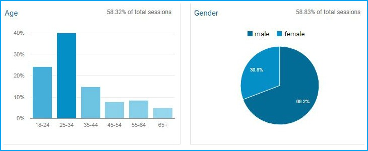 Relakhs Blog Visitors demographics Age wise Gender wise pic