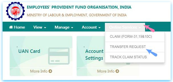 EPFO Unified Member Portal for online EPF Transfer online EPF withdrawals pic