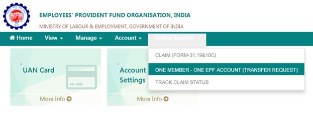 EPFO Unified Member Portal for online EPF Transfer online EPF withdrawals one employee one epf transfer request pics