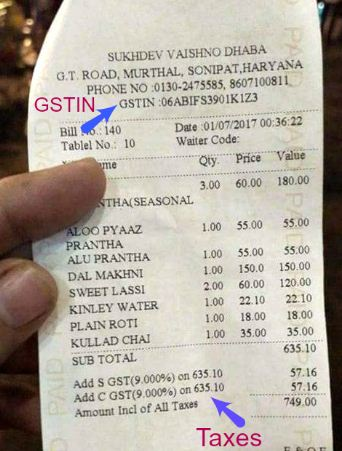 GST Hotel bill receipt with GSTIN State GST Central GST Tax rate