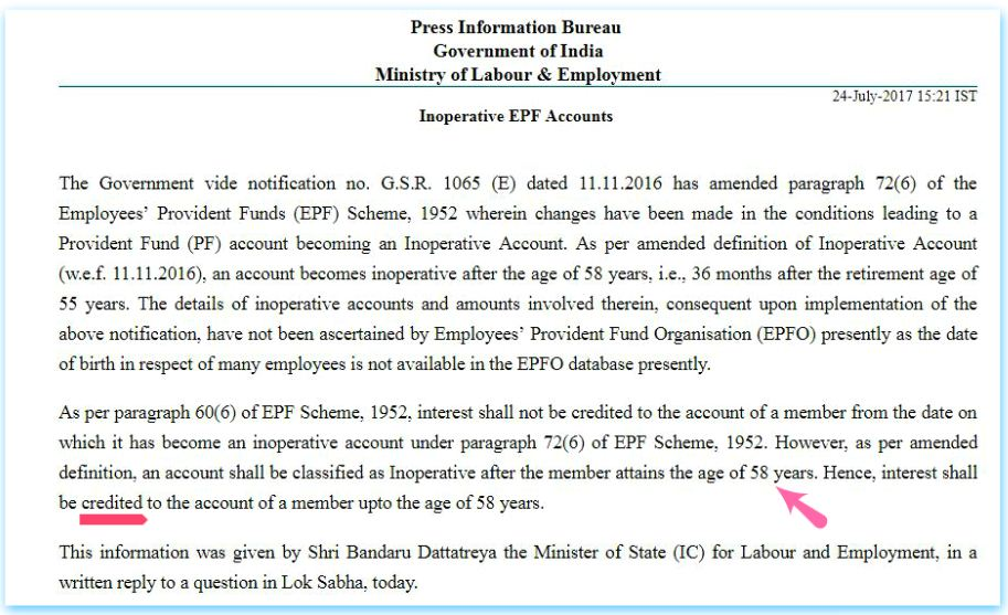Interest on Inoperative EPF accounts Old Dormant EPF accounts payable till 58 years retirement age Provident Fund pic