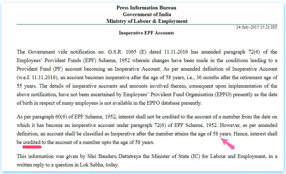 Juros sobre contas EPF Contas EPF antigas adormecidas a pagar até a idade de aposentadoria de 58 anos Fundo de previdência