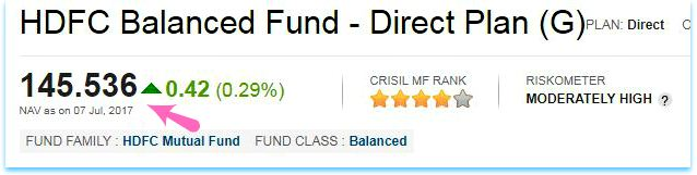 NAV net asset value of a fund hdfc balanced fund pic