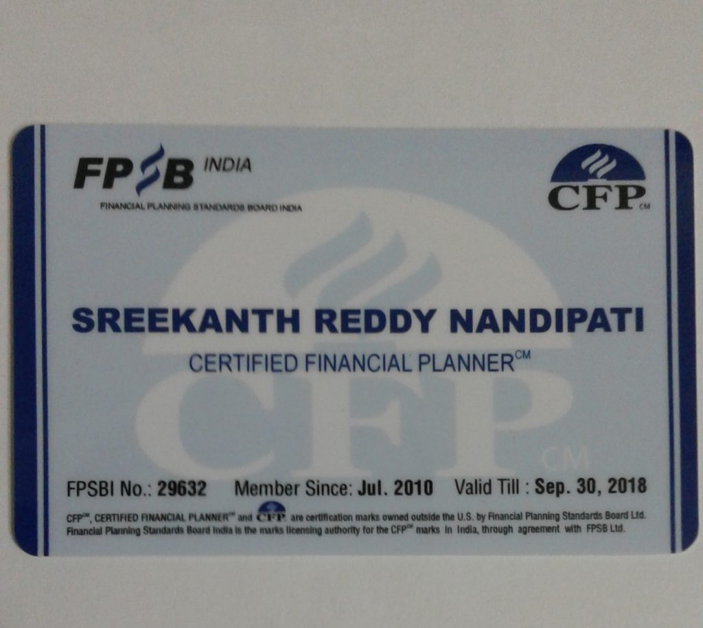 Sreekanth Reddy CFP ID Card 2017 - 2018