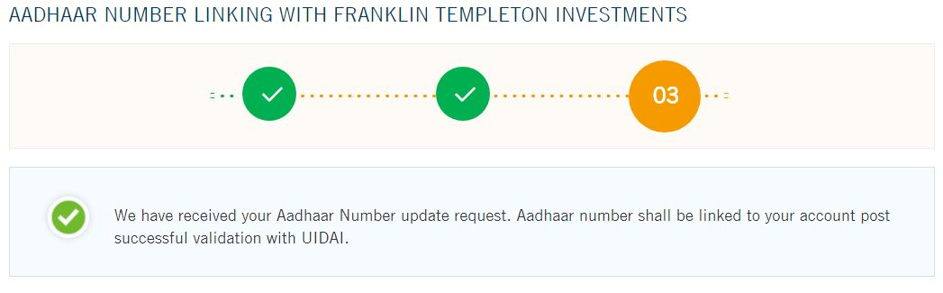 Franklin Templeton Indian mutual fund folios link to Aadhaar number online confirmation