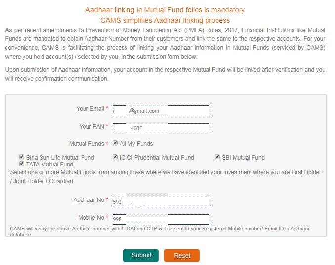 Aaadhaar card with mutual funds in CAMS portal