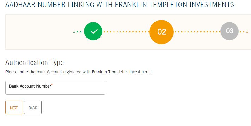 Franklin Templeton Indian mutual fund folios link to Aadhaar number online bank account number