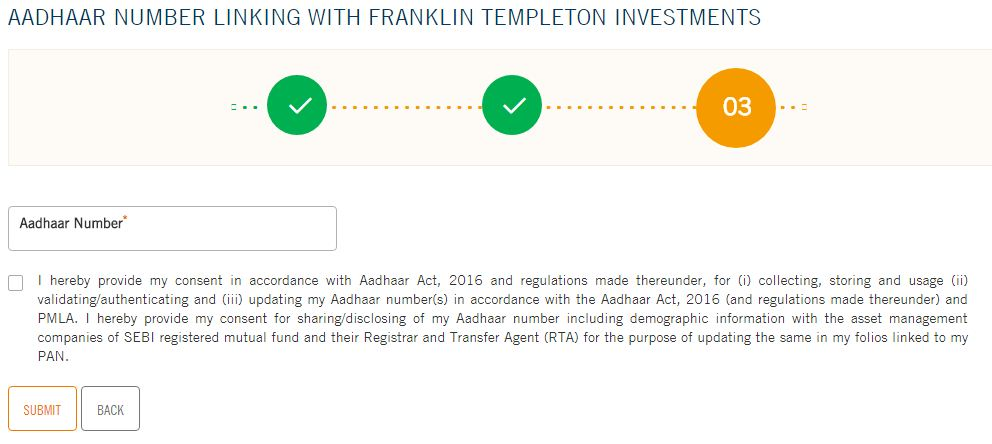 Franklin Templeton Indian mutual fund folios link to Aadhaar number online pic