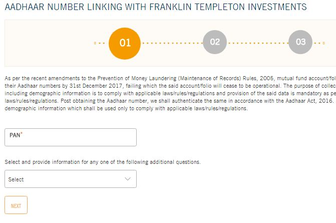 Franklin Templeton Indian mutual fund folios link to Aadhaar number online
