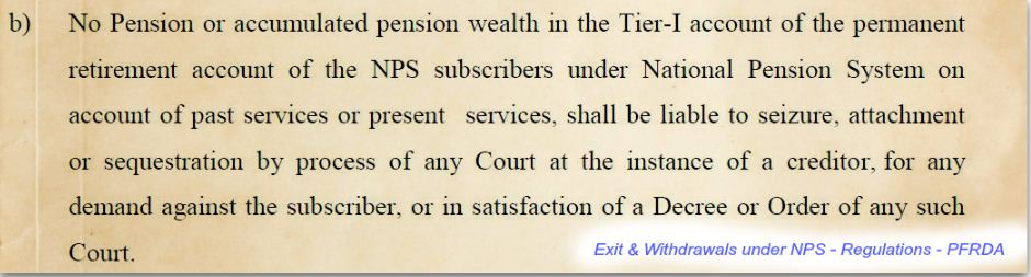 Investments in NPS National Pension Scheme Tier 1 account exit and withdrawal rules pic