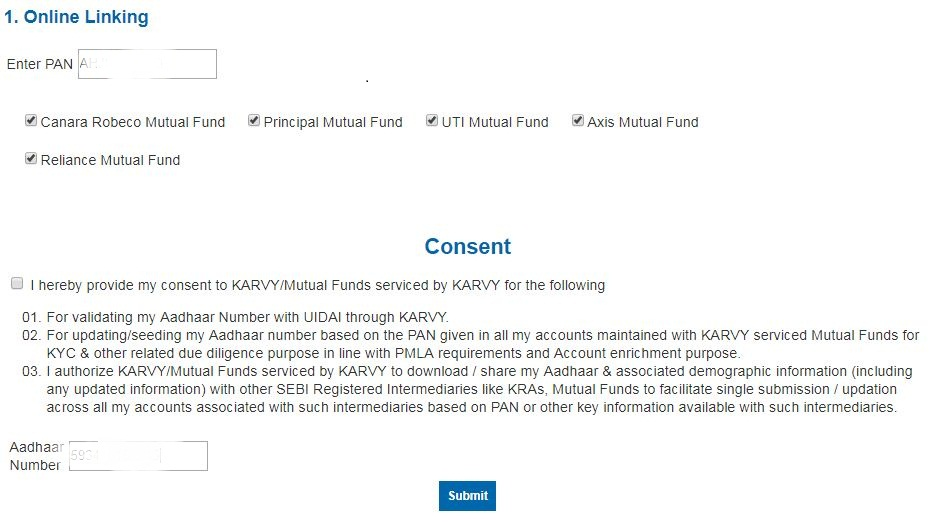 Karvy portal for mutual fund aadhaar number linking process online OTP