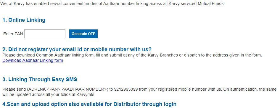 aadhaar number mutual fund folios link online Karvy Canara IDBI LIC Mirae Motilal Oswal Quantum UTI Mutual funds