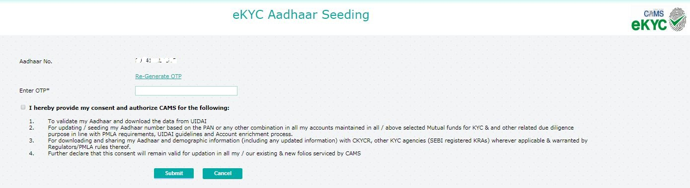 e-Aadhaar number seeding with mutual fund folios