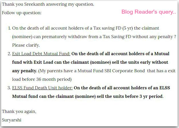 elss mutual fund units redemption during lock in period on death of investor pic