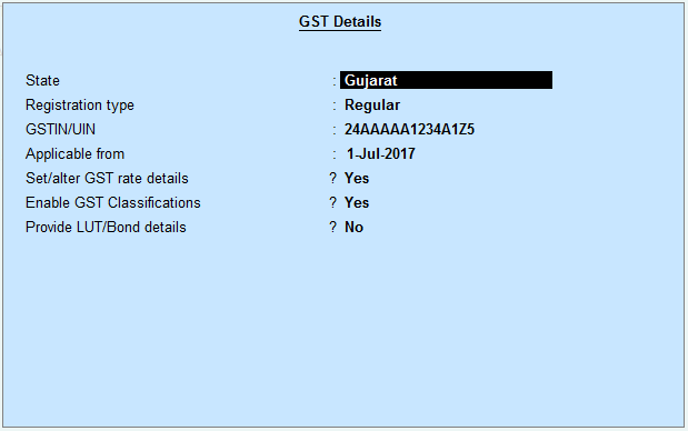 Setting up GST details in Tally GST Tax filing returns preparation online