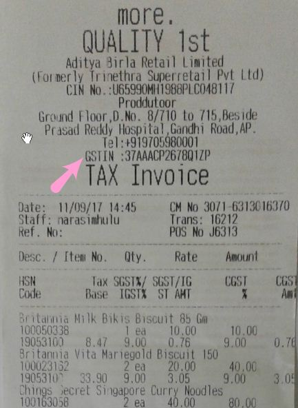 Genuine GST Bill with GSTIN number GST Invoice Memo Receipt example