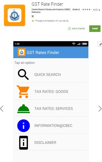 Govt Tax dept mobile app for GST Slab tax rate finder
