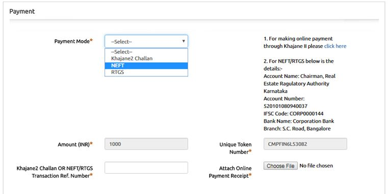 Complaint fee bangalore karnataka RERA portal