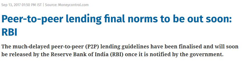 Online Peer to Peer Lending platforms regulations draft final guidelines RBI