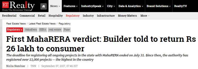 RERA Act Maharashtra verdict Home buyers complaint