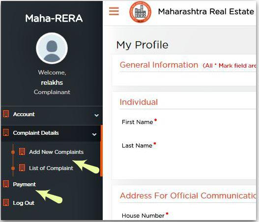 RERA complaint online fee payment neft rtgs
