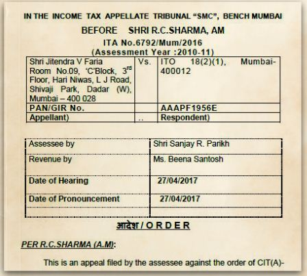 Long Term Capital Gain Exemptions Under Section 54 cannot be denied for investment in joint name Shri-Jitendra V Faria Vs ITO ITAT Mumbai pic