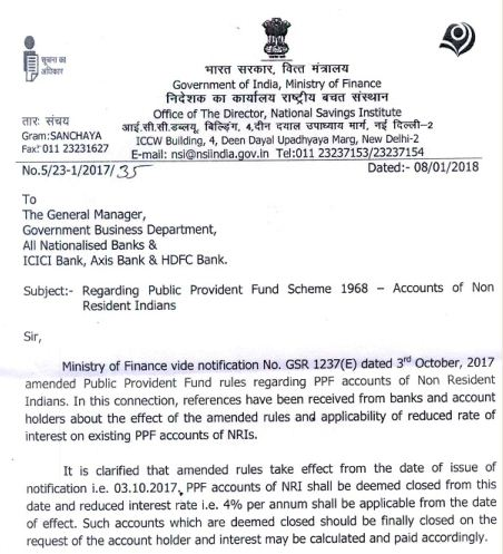 Latest Govt circular on nri ppf closure rules not retrospective pic