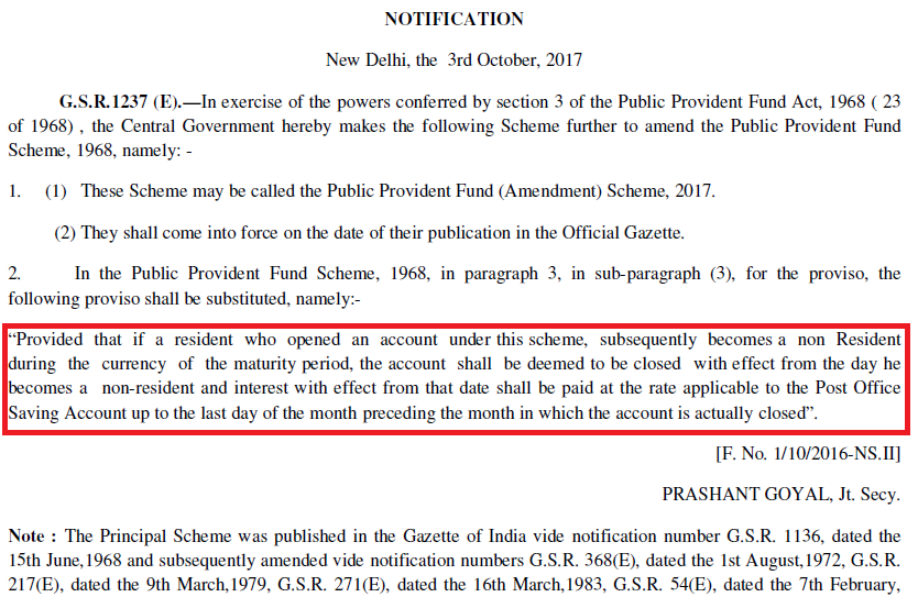 Latest revised New PPF account rules for NRI Govt gazette notification circular Oct 2017