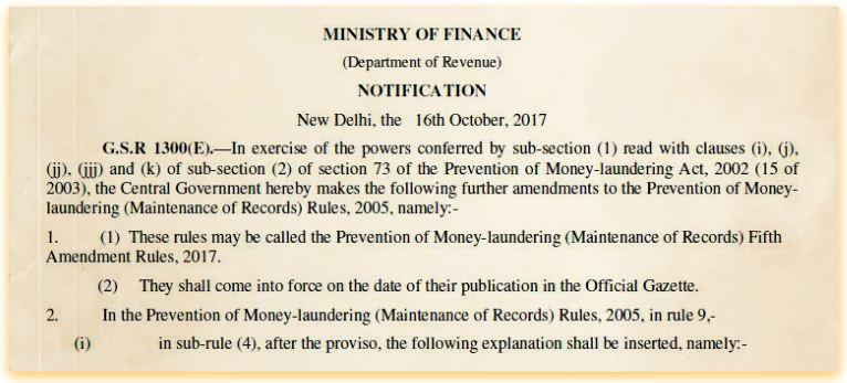 Prevention of Money Laundering Act original ID proof for Bank cash transactions above Rs 50000 foreign exchange property purchase 50 lakhs pic