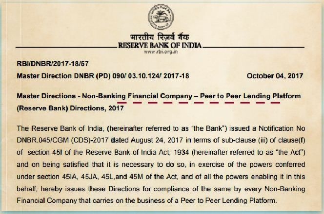 RBI's latest notification 2017 guidelines rules on Peer to peer lending platforms in india pic