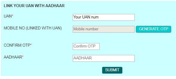 UAN Aadhaar number mobile OTP