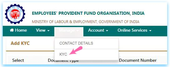 update KYC in EPF unified member portal