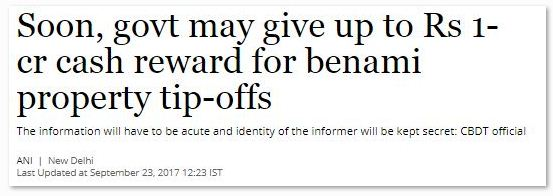Benami properties benami transactions cash reward Rs 1 crore secret informers govt scheme