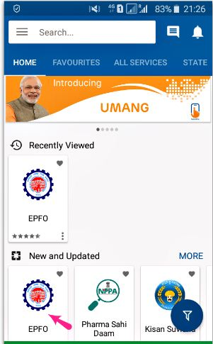 EPFO services in UMANG mobile app