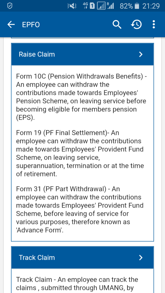 online EPF withdrawal claim through govt UMANG mobile app