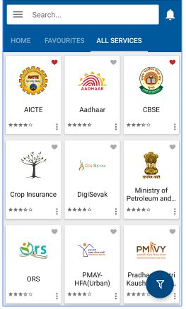 Services in govt new umang mobile app PAN aadhaar LPG gas NPS CBSE PMAY Pension