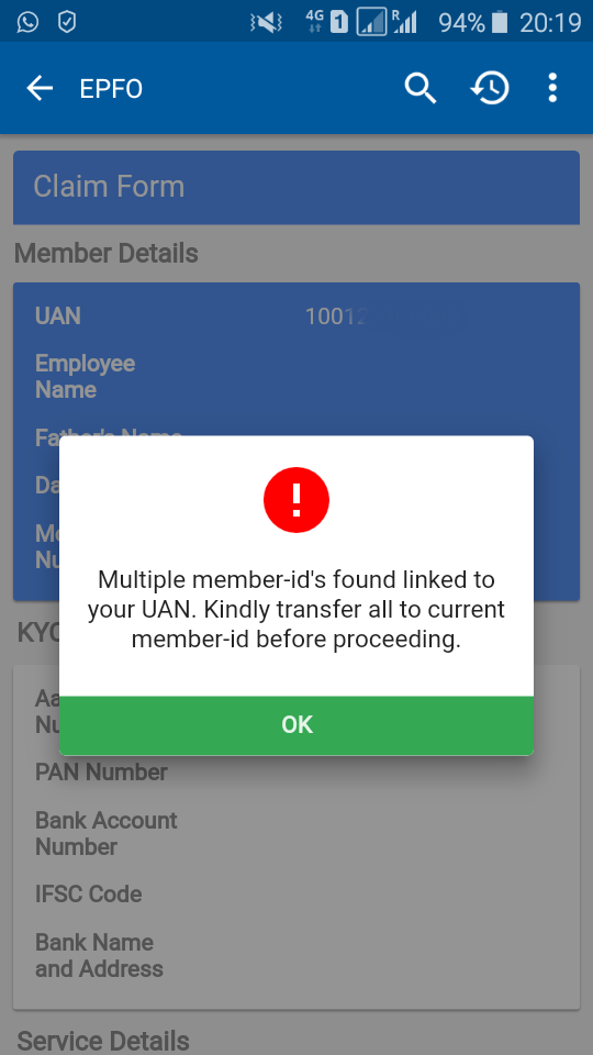 multiple EPF member IDs EPF accounts consolidate umang error message EPF transfer pic