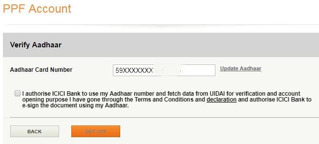 Verify Aadhaar update Aadhaar for opening of PPF account icici bank
