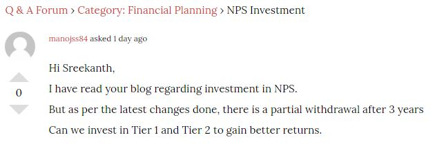 Blog reader query on NPS investment is it worth to invest in NPS scheme