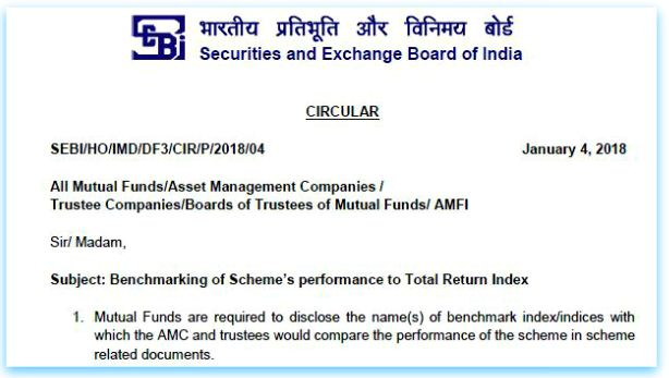SEBI Circular notification 2018 on mutual fund perforamnce benchmarking with Total return index TRI pic