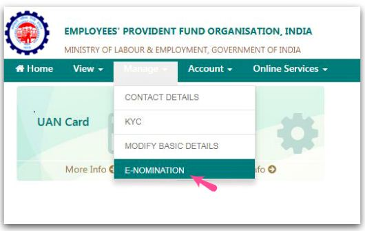 EPF Account Nomination details online UAN PF EPF Account eNomination facility UAN member portal epfo