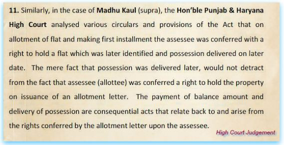 High court order on date of allotment vs date of possession for calculation holding period on sale of under construction property pic