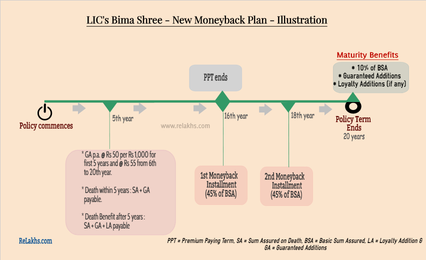 LIC Bima Shree policy details infographic pictoral illustration example guaranteed additions details