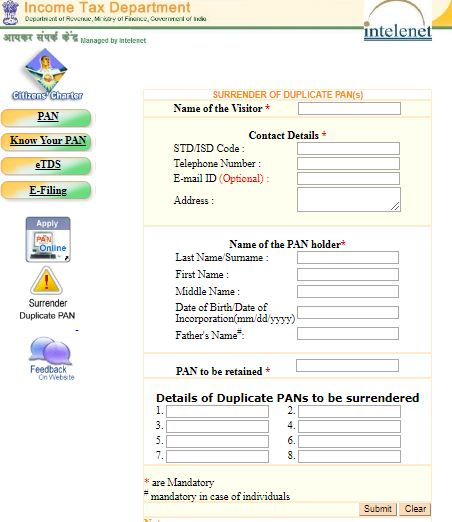 surrender PAN online cancellation of duplicate PAN cards income tax portal